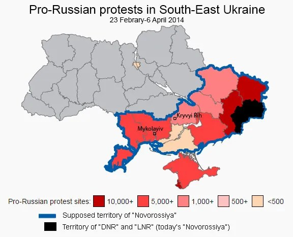 Pro-Russian protests in the aftermath of Euromaidan (based on wikipedia map).
