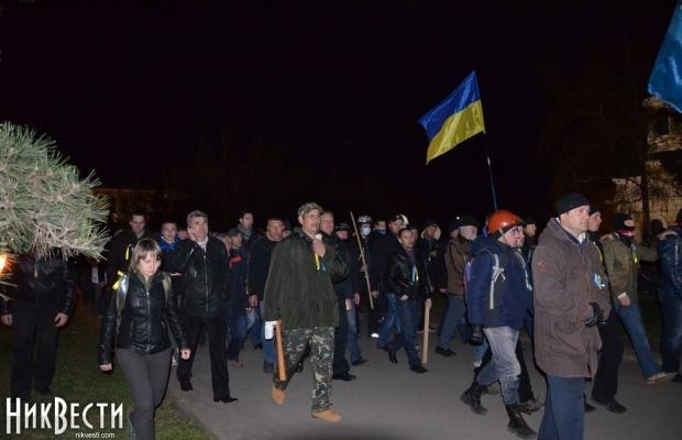 Pro-Ukrainian unity Mykolayivans disperse the separatist camp. Photo: nikvesti.com