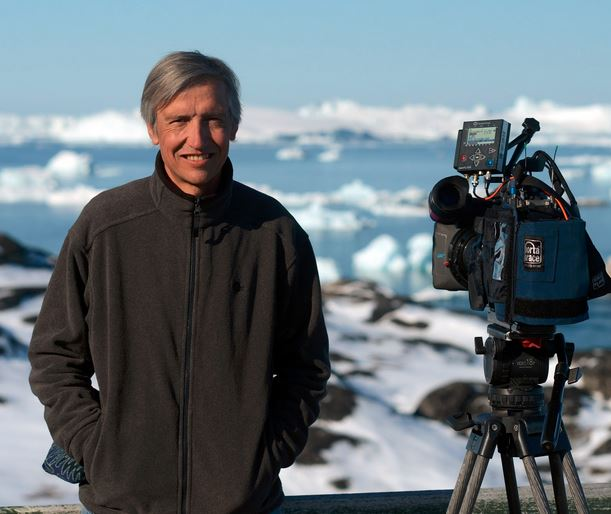 Andrew Tkach on a filming session in Greenland