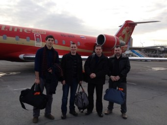 "The arrival of the ""delegation"" of the Russian Imperial Movement in Simferopol, Crimea, 28 February 2014. Stanislav Vorobyov is on the far right"