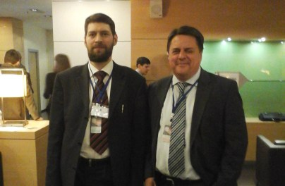 (left to right) Nikolay Trushchalov, a leading member of the Russian Imperial Movement, and Nick Griffin, ex-leader of the fascist British National Party, St. Petersburg, Russia, 22 March 2015