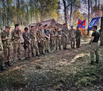 This camp for the preparation of mercenaries for Russia's war in Ukraine also had a group of school age youths. The camp is located in the territory of a Russian Orthodox monastery near the city of Chernogolovka near Moscow. September 2015. (Image: ENOT Corp.)