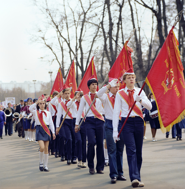 A march of a local branch of the Vladimir Lenin All-Union Pioneer Organization at one of Moscow schools, 1981. (Image: TASS)