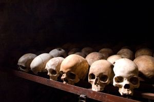 Human skulls at the Nyamata Genocide Memorial in Nyamata, Rwanda (Image: Inisheer, Wikipedia)