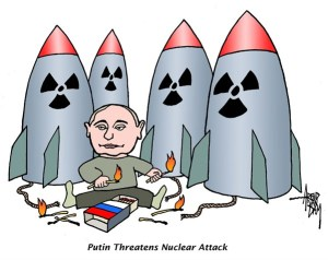 Political cartoon: Putin threatens nuclear attack