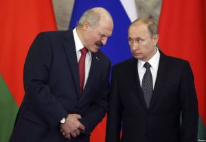 President of Belarus Oleksandr Lukashenka and president of Russia Vladimir Putin at a meeting in March 2015