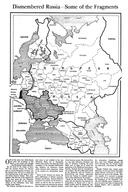 February 1918 article from The New York Times showing a map of the Russian Imperial territories claimed by Ukraine People's Republic at the time, before the annexation of the Austro-Hungarian lands of the West Ukrainian People's Republic. Source: http://nyti.ms/1Osuvr3