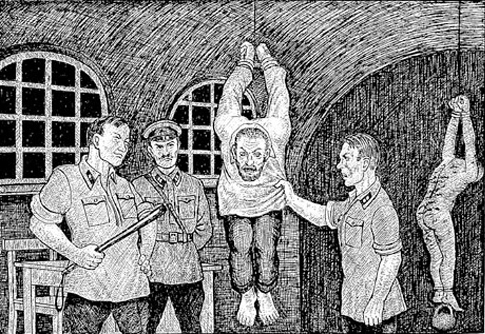"""'Third degree interrogation' from """"Drawings from the GULAG"""" by Danzig Baldaev, a former NKVD guard"""