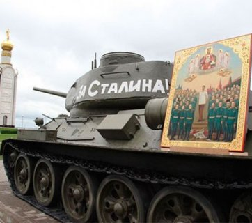 A Stalin icon on top of a Russian WW2 tank (Image: social media)