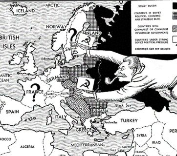 The old political cartoon depicts the Soviet takeover of the Eastern Europe accomplished as the result of the Yalta Conference between the heads of government of the United States, the United Kingdom and the Soviet Union, represented by President Franklin D. Roosevelt, Prime Minister Winston Churchill and Premier Joseph Stalin, respectively. The conference was to discuss Europe's post-war reorganization. It convened at the Livadia Palace in Yalta, Crimea, USSR in February 1945, near the end of the WW2.