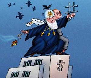 Patriarch Kirill and Putin (political cartoon)
