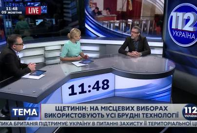 Aleksandr Shchetinin in the studio of Ukrainian TV channel 112