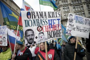 """Obama Kills, No War"" Anti-Maidan Rally, Moscow, February 20, 2015"