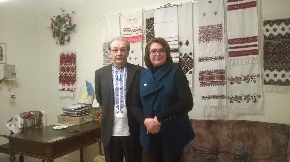Ihot Sagach, Ambassador of Ukraine in Sweden (left), Zoryana Kiktsö from Union of Ukrainian Women of Scandinavia (right) at the office of the organization in Stockholm