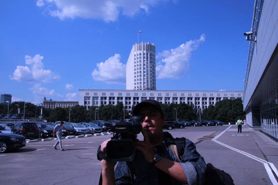 Florin performing journalism assignment, filming in Moscow. Photo from Wikimedia Commons.