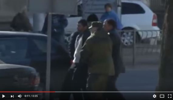 """Snapshot fromvideo where Crimean """"self-defense"""" forces abduct Reshat Ametov, who was later found dead"""