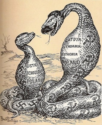 """The Two Constrictors. """"I don't know about helping you, Adolf, but I do understand your point of view."""" A cartoon by Bernard Partridge at Punch-Magazine, 1939"""