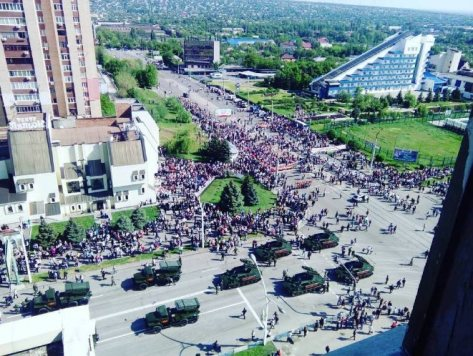 Military equipment of the Russian-hybrid forces parading in occupied Luhansk on 9 May 2016. Photo: Twitter