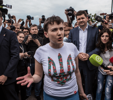 Nadiya Savchenko at Borispol Airport after arrival from her illegal imprisonment in Russia (Photo by Brendan Hoffman/Getty Images)