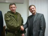 (L-R) Aleksandr Zakharchenko, leader of pro-Russian separatist terrorists and Mateusz Piskorski, November 1, 2014, Donetsk