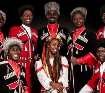 """Marusya"", a folk singing group organized by African students in Russia, has appealed to Vladimir Putin for defense against Kuban Cossacks who are upset that the black students dress in Cossack costumes and sing Cossack songs. (Image: golos-kubani.ru)"