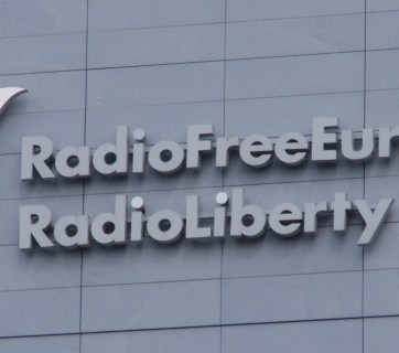 Logo of Radio Free Europe/Radio Liberty on its newly constructed building in Prague, Czech Republic, September 2008 (Image: Petr Kadlec via Wikimedia)