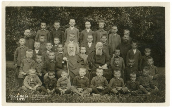 Orphanage at Univ Monastery, sitting in the middle: Andrey and Klymentiy Sheptytsky, 1930s
