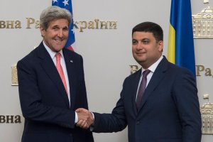 Ukrainian Prime Minister Volodymyr Hroisman with U.S. State Secretary John Kerry in Kyiv (Image: liveuamap.com)
