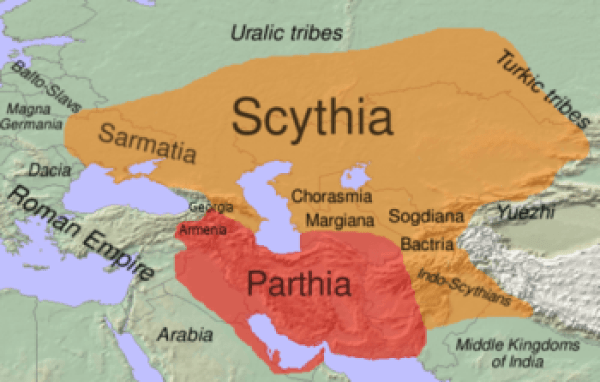 Approximate extent of Scythia within the area of the Eastern Iranian languages (in orange) in the 1st century BC.