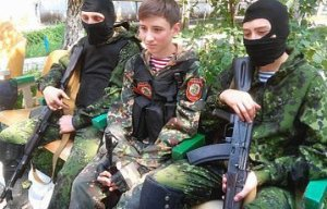 Child soldiers in the Russian hybrid army occupying the Donbas, Ukraine (Image: charter97.org)