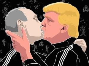 A poster of Donald Trump kissing Vladimir Putin by Lithuanian artist Mindaugas Bonanu (Image: 2oceansvibe.com)