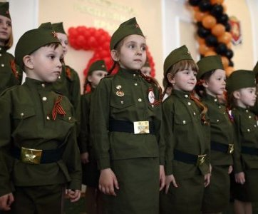 "A photo from the album called ""Children -- Our Future"" from a ""Novorossiya"" website of the Moscow-created so-called ""Donetsk and Luhansk People's Republics."" In the Kremlin's eyes, war was, is and will be the future of people under its control. (Image: e-news.su)"