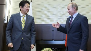 Putin with Japanese Prime Minister Shinzo Abe in Sochi, Russia on May 6, 2016. (Image: AFP)