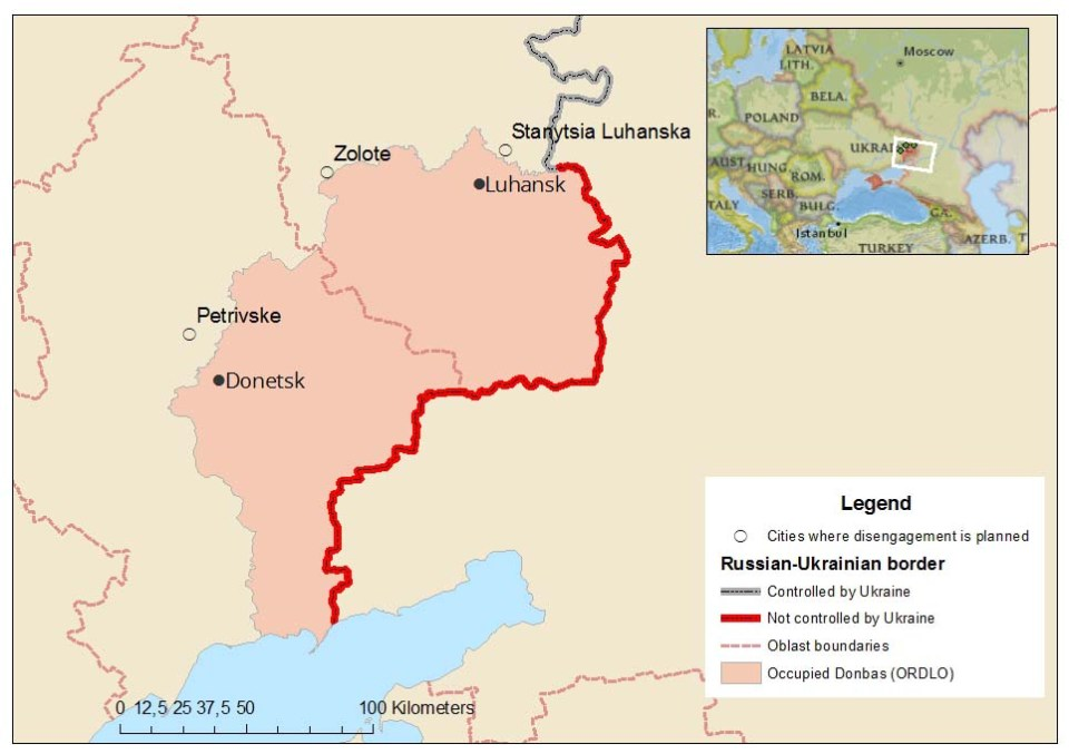 A map of the towns where disengagement is planned, by Euromaidan Press