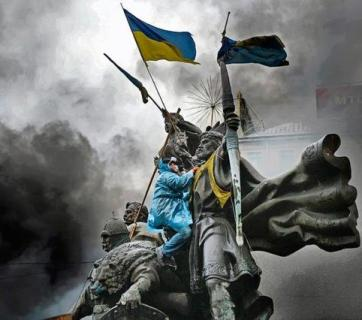 January 22, a protester at the monument devoted the founders of Kyiv Photo:Jeff J Mitchell/Getty Images