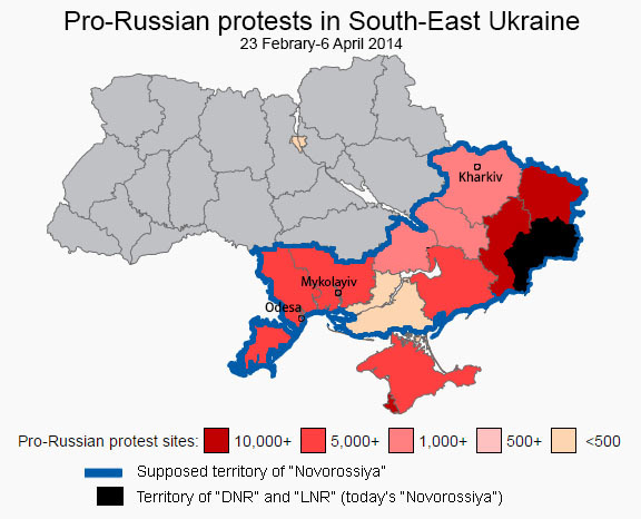 Map of the attendance of pro-separatism protests in the aftermath of the Euromaidan revolution. (Image: Euromaidan Press)