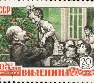 This Soviet stamp is another example of falsifications by the Soviet state propaganda machine. Under the Marxist-Leninist doctrine of state atheism in the Soviet Union, after its foundation in 1917, Christmas celebrations—along with other religious holidays—were prohibited as a result of the Soviet anti-religious campaign. It took 20 years, before the Soviet communists supplanted the tradition of the Christmas tree by the New Year's tree (in 1937), meanwhile the founder of the Soviet Union Vladimir Lenin died thirteen years earlier (in 1924).
