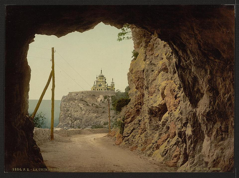 A view of the church in Baidar from the tunnel. Crimea, Ukraine circa 1890-1900. Image: Detroit Publishing Company via the Library of Congress