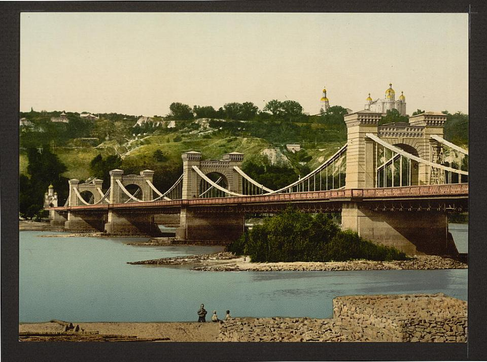 St. Nicholas Bridge in Kyiv, Ukraine circa 1890-1900. Image: Detroit Publishing Company via the Library of Congress