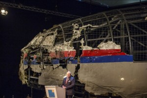A reconstruction of the flight MH17 Boeing airplane shot down by a Russian Buk missile over the Russia-occupied Donbas. Photo: UNIAN