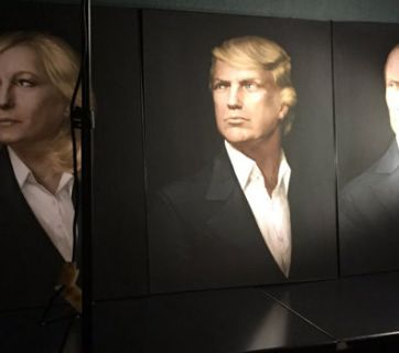 A painting of Trump, Putin and French far-right leader Marine Le Pen prominently displayed at a Trump party in Moscow hosted by Kremlin functionaries to celebrate his election as US president, which was facilitated by Russia's covert meddling. Russia's meddling in French elections six month later to help Le Pen backfired and she lost to Emmanuel Macron. November 2016, Moscow, Russia (Image: mogaznews.com)