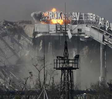 Donetsk Airport completely destroyed during Russian aggression in the Ukrainian Donbas.