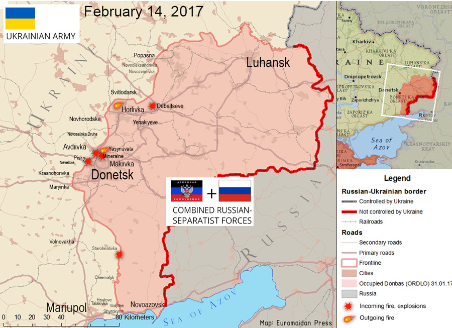The situation in the Donbas on February 14, 2017 according to reports by local residents on social networks