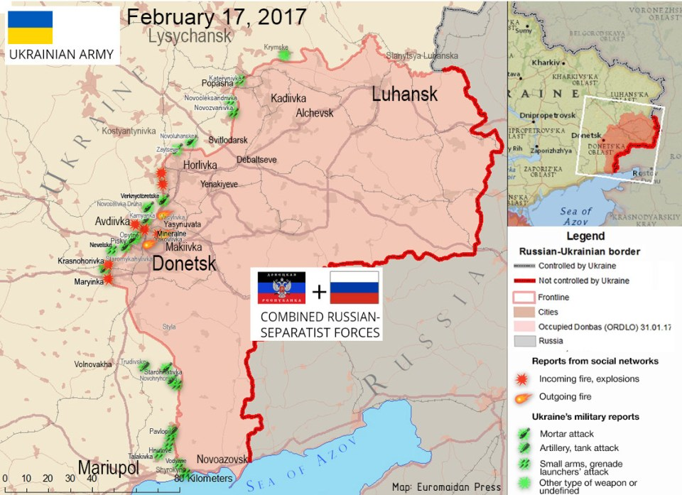 The situation in the Donbas on February 17, 2017, according to reports by local residents on social networks (red) and ATO HQ (green)