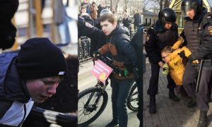 Teenage victims of the police crackdown of the anti-corruption protests in Moscow, Russia on March 26, 2017