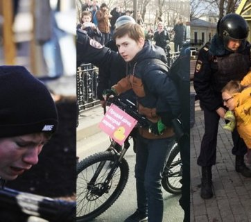 Police crackdown of the anti-corruption protests in Moscow, Russia on March 26, 2017