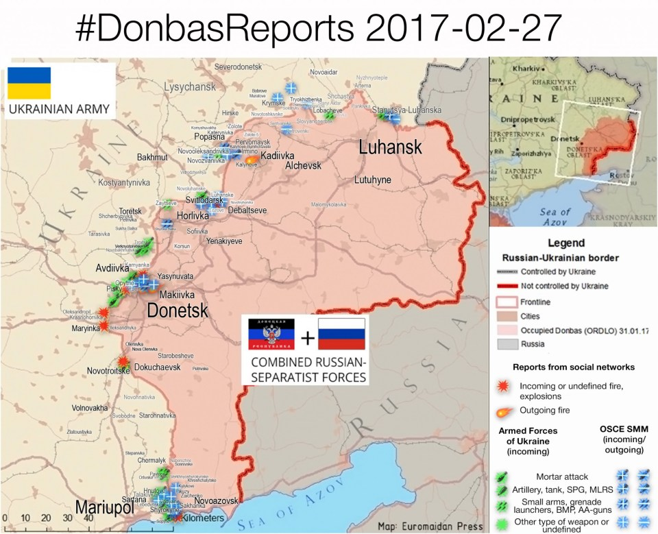 The situation in the Donbas on February 27, 2017, according to reports by local residents on social networks (red), ATO HQ (green), OSCE (blue).