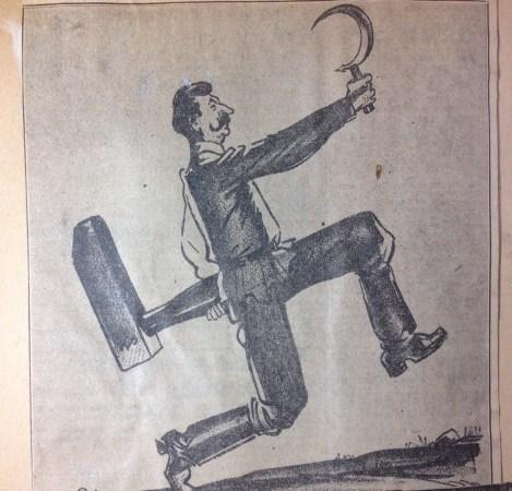 Privirea caricaturistului de ziar asupra apropierii lui 1939 de către Stalin de naziști