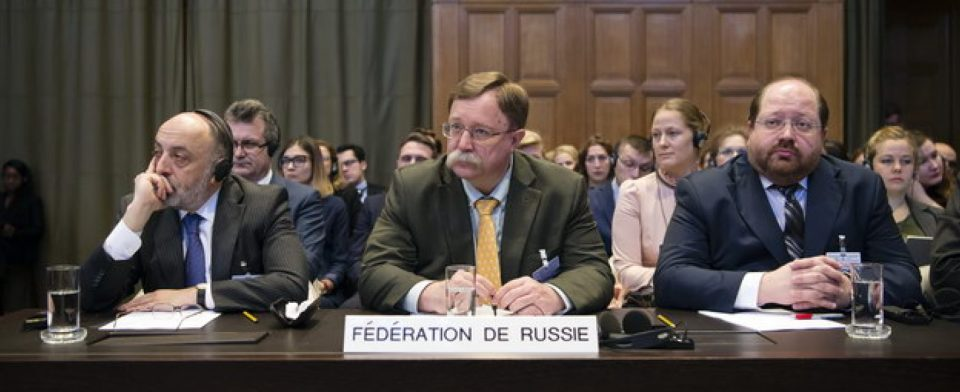 The Russian delegation during a public hearing in the case Ukraine Vs. Russia at the International Court of Justice in The Hague on March 6.