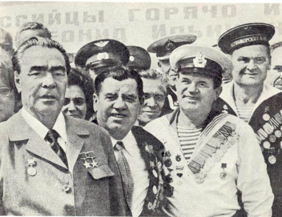 Leonid Brezhnev (left) laid the foundation of the Great Patriotic War myth defining Russian policy today